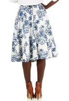 Closet London - Floral Flared Panel Midi Skirt Blue and White