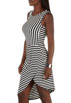 STYLE REPUBLIC - Stripe Drape Dress Black and White