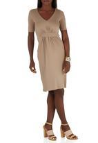 edit - Drape Knit Dress Stone/Beige