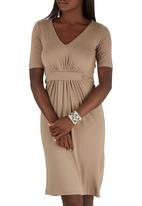 edit - Drape Knit Dress Stone/Beige