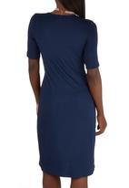 edit - Drape Knit Dress Dark Blue