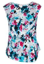 edit - Floral D-ring Drape Blouse Multi-colour