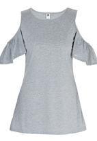 Royal T - Cold Shoulder Butterfly Sleeve Tunic Grey