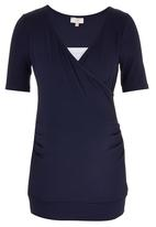 edit Maternity - Cross Over T-shirt with Inset Blue and White