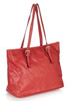 Marie Claire - Quilted Tote Bag with Buckle Details Red