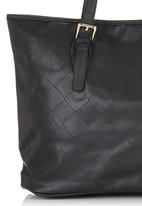 Marie Claire - Quilted Tote Bag with Buckle Details Black