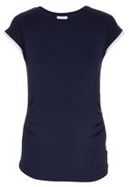 edit Maternity - Gauged Contrast T-shirt Blue and White