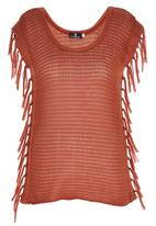 STYLE REPUBLIC - Fringe Knit Tunic Mid Brown