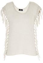 STYLE REPUBLIC - Fringe Knit Tunic Milk