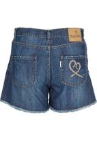 Precioux - Raw-Hem Denim Shorts Mid Blue
