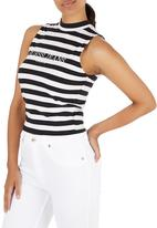 GUESS - Mock Neck Crop Top Black and White