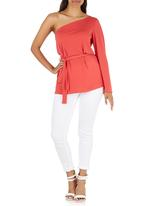 STYLE REPUBLIC - One Shoulder Tunic Coral