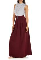c(inch) - Pleated Maxi Skirt Dark Red