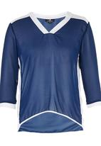 STYLE REPUBLIC - Inset Blouse Blue and White