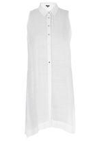 STYLE REPUBLIC - Sleeveless Slit Shirt White
