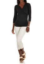 edit Maternity - 3/4 Sleeve Cross Over Top Black