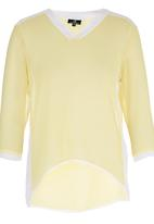 STYLE REPUBLIC - Inset Blouse Yellow and White