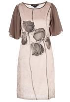 Cheryl Arthur - Antique Rosebuds Digital Print Dress Pale Pink