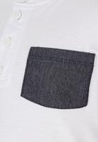 See-Saw - Henley T-shirt with Pocket Detail White