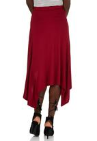 edit - Hanky Hem Midi Skirt Dark Red