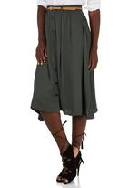 edit - A-line Button through Skirt Khaki Green
