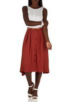 edit - A-line Button through Skirt Mid Brown