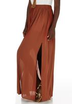 c(inch) - Maxi Skirt with Slits Mid Brown