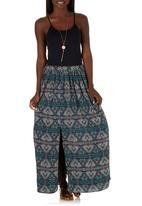 c(inch) - Maxi Skirt with Slits Green
