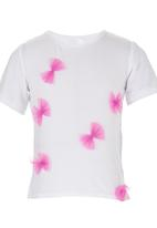 See-Saw - T-shirt with Bow Detail White