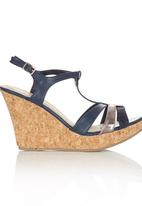 Bata - Ankle Strap Wedge Navy