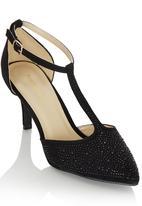 Bata - T-bar Diamante Heels Black