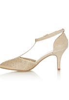 Bata - T-bar Diamante Heels Gold