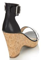Bata - Cork Ankle Strap Wedge Black and White