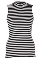 c(inch) - High Neck Top Black and White