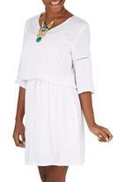 edit - Boho Ladder Lace Dress White