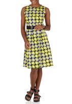 Black Velvet - African Print Skater Dress with Waistband Yellow