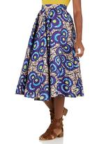 Black Velvet - African Print 50s Circle Skirt Mid Purple
