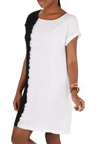 LABEL FEMME - Dip-dye Shift Dress with Pockets Blue and White