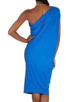 Slick - Merolyn One-shoulder Draped Dress Cobalt