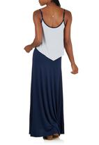 LABEL FEMME - Maxi Dress with Contrast Frill Navy