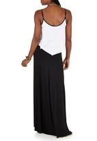 LABEL FEMME - Maxi Dress with Contrast Frill Black and White
