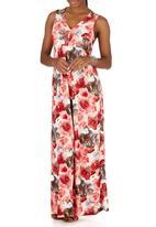 Slick - Isabella Printed Maxi V-neck Dress Red