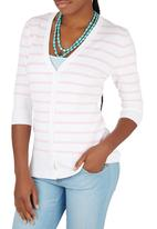 Passionknit - Candy Stripe 3/4 Sleeve Cardi Pale Pink