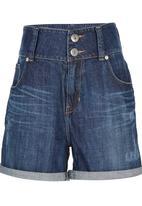 Precioux - High Waisted Denim Shorts Mid Blue