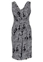 edit - Printed V-neck Crossover Dress Black and White