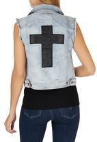 Jorge - Double Crossed Vest Pale Blue