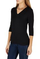 Passionknit - 3/4 Sleeve V-neck Jumper Black