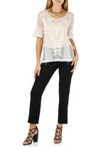 G Couture - Mesh Embroidered Top Milk