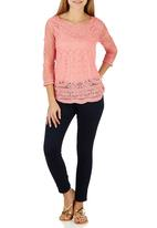 G Couture - Mesh Embroidered Top Dark Pink