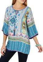 G Couture - Printed Kaftan Top Mid Blue